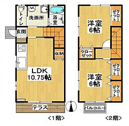 [テラスハウス] 茨城県龍ケ崎市松ケ丘3丁目 の賃貸【/】の間取り