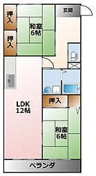 シェトワ若草[2階]の間取り