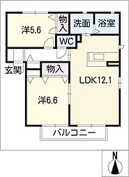 パークサイドハイツE棟[1階]の間取り