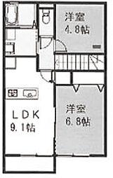 埼玉県加須市花崎3丁目の賃貸アパートの間取り