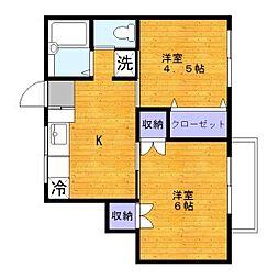 東京都足立区西綾瀬4丁目の賃貸アパートの間取り
