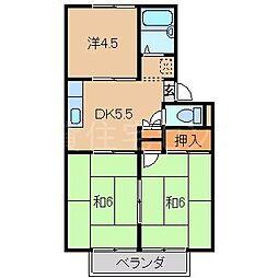 キタモリハイツ2号棟[2階]の間取り