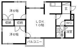 静岡県浜松市中区佐鳴台1の賃貸マンションの間取り