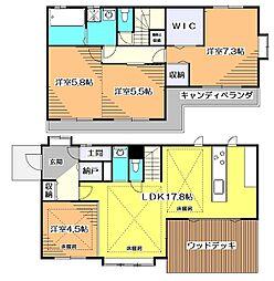 西武新宿線 花小金井駅 徒歩21分の賃貸一戸建て 2LDKの間取り