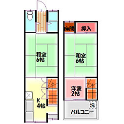 東光町1丁目テラスハウス 1階3Kの間取り