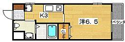 アカシア 3階1Kの間取り