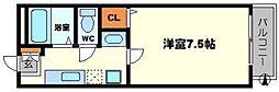 大阪府豊中市服部西町4丁目の賃貸アパートの間取り