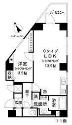 都営浅草線 戸越駅 徒歩3分の賃貸マンション 11階1LDKの間取り