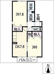 シェソワN B棟[2階]の間取り