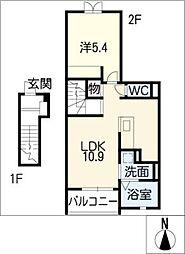 フラワーII[2階]の間取り