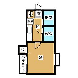 ピュア箱崎 六番館[2階]の間取り