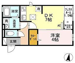 西武池袋線 清瀬駅 徒歩9分の賃貸アパート 1階1SDKの間取り