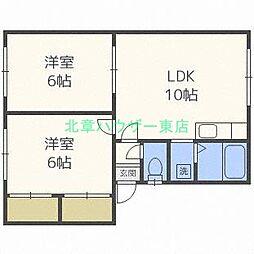 北海道札幌市東区北四十七条東13丁目の賃貸アパートの間取り