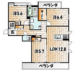 福岡県北九州市八幡東区中央1丁目の賃貸アパートの間取り