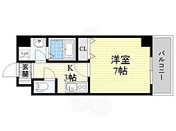 Osaka Metro中央線 九条駅 徒歩6分の賃貸マンション 9階1Kの間取り