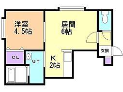 シティハイム澄川 1階1LDKの間取り