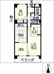 バンベール新木曽川302号室[3階]の間取り