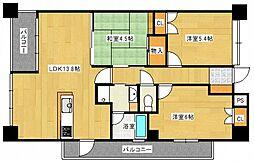 ペルル平和大通り[4階]の間取り
