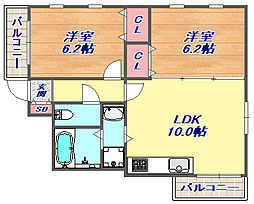 エールハイツ本山[202号室]の間取り