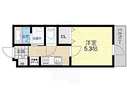 阪神本線 尼崎駅 徒歩4分の賃貸アパート 1階1Kの間取り