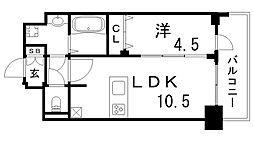 プレサンスTHE神戸 14階1LDKの間取り