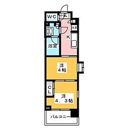 ガーラ・パークサイド木場 8階2Kの間取り
