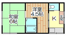 鈴木荘[205号室]の間取り