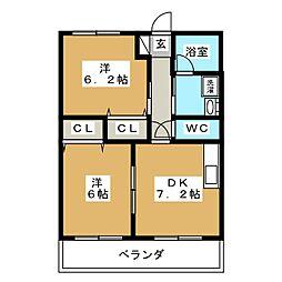 ガーデン藤岡[3階]の間取り