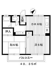 東京都練馬区平和台3丁目の賃貸アパートの間取り