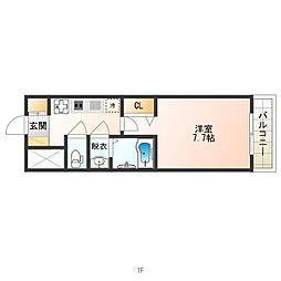 南海高野線 天下茶屋駅 徒歩7分の賃貸マンション 8階1Kの間取り