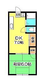 サンライズアパートメントA[2階]の間取り
