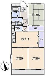 Wing2号館[3階]の間取り