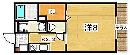 大阪府枚方市長尾家具町1丁目の賃貸アパートの間取り