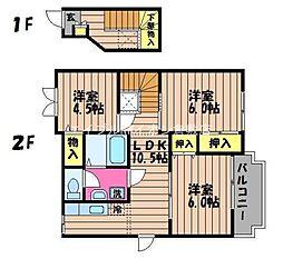 岡山県倉敷市北畝6丁目の賃貸アパートの間取り