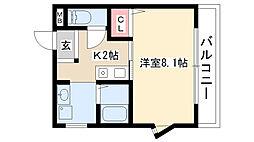 愛知県名古屋市昭和区五軒家町2丁目の賃貸マンションの間取り