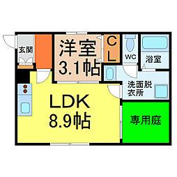 愛知県名古屋市中区門前町の賃貸アパートの間取り