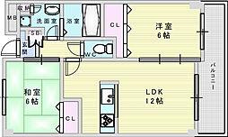 北大阪急行電鉄 緑地公園駅 徒歩2分の賃貸マンション 3階2LDKの間取り