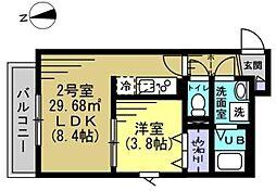 ピース八潮II 3階1LDKの間取り