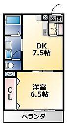 三福マンション 3階1DKの間取り