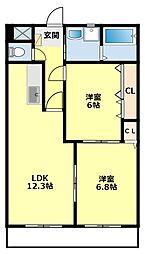 愛知県豊田市宮上町8丁目の賃貸マンションの間取り