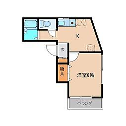 近鉄大阪線 関屋駅 徒歩2分の賃貸マンション 3階1Kの間取り