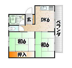 福岡県北九州市小倉南区沼南町2丁目の賃貸アパートの間取り