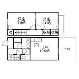 [テラスハウス] 滋賀県野洲市行畑2丁目 の賃貸【/】の間取り