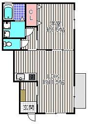 大阪府堺市堺区山本町5丁の賃貸アパートの間取り