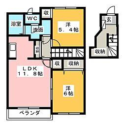ドゥーコワン[2階]の間取り