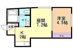 Fleur−S5(フルールS5) 3階1LDKの間取り
