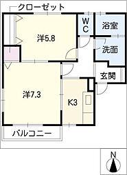 リーフレジデンス(西)[2階]の間取り