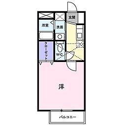 佐賀県佐賀市開成2丁目の賃貸アパートの間取り