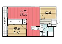 千葉県成田市並木町の賃貸マンションの間取り