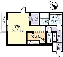 つくばエクスプレス つくば駅 バス17分 さくらの森下車 徒歩5分の賃貸アパート 2階1Kの間取り